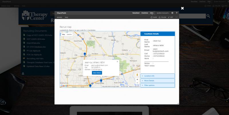 sharepoint recruit map
